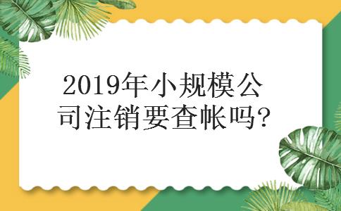 2019年小规模公司注销要查帐吗?